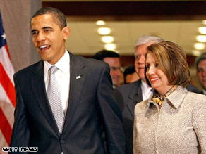 President Obama met with Speaker Nancy Pelosi and other House Democrats Tuesday to pitch his budget.