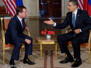 Russian President Dmitry Medvedev and President Obama talk Wednesday in London ahead of the G-20.