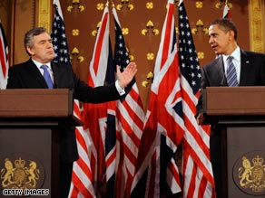 British Prime Minister Gordon Brown, left, and President Obama speak in London, England, on Wednesday.