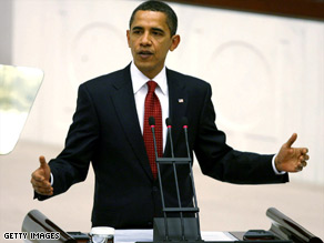 President Barack Obama addresses the Turkish parliament on Monday.