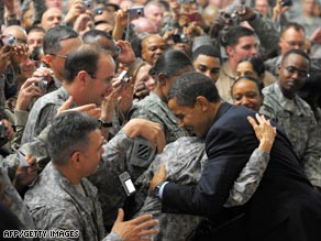 President Obama greets troops during a visit to Camp Victory on Tuesday.