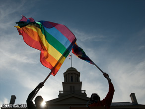 Demonstrators in Iowa celebrate that state's approval of same-sex marriage on Friday.