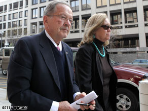 Stevens and his wife, Catherine, arrive Tuesday at the federal courthouse in Washington.