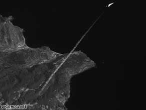 An image from DigitalGlobe, a satellite imagery firm, shows the North Korean launch last weekend.