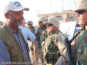 U.S. Rep. Donald Payne, D-New Jersey, meets with soldiers in Iraq in an undated photo.