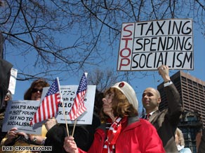 """Tea party"" protesters rally on Wednesday in Boston, Massachusetts."