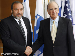 U.S. envoy George Mitchell, right, meets Israeli Foreign Minister Avigdor Lieberman on Thursday in Jerusalem.