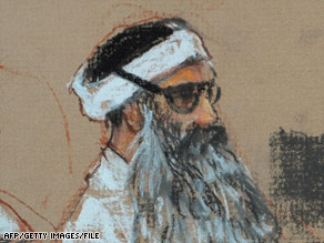 Khalid Sheikh Mohammed, seen in a December sketch, was waterboarded 183 times in a month, a memo says.