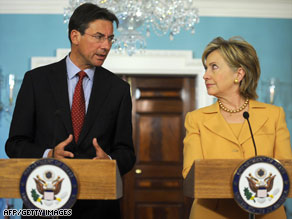 Hillary Clinton and Dutch Foreign Minister Maxime Verhagen talk after their meeting Monday in Washington.