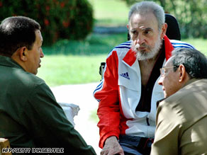 Fidel Castro appears with Venezuela's Hugo Chavez, left, and brother Ra�l Castro in a photo released in June.
