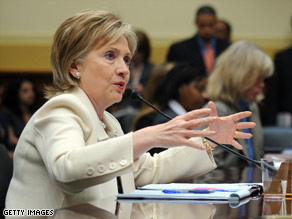 Secretary of State Hillary Clinton testifies before the House Foreign Affairs Committee on Wednesday.