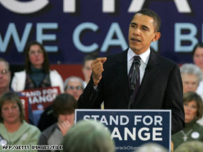 Presidential candidate Barack Obama speaks at Newton (Iowa) Senior High School in December 2007.