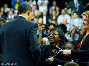 President Obama greets Henrietta Hughes during a town hall meeting in Fort Myers, Florida, on February 10.