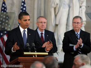 President Obama, Senate Majority Leader Harry Reid and Senate Minority Leader Mitch McConnell earlier this year.