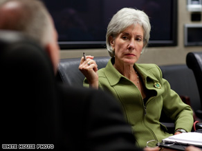 Kathleen Sebelius dives into discussing the swine flu at the White House after being sworn in.