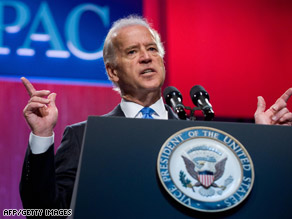 "Vice President Joe Biden says Israel must work ""toward a two-state solution."""