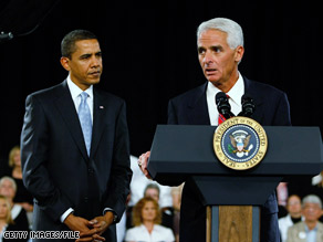 Florida Charlie Crist introduces President Obama at a town-hall meeting in February in Fort Myers, Florida.