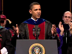 President Obama addresses the graduating class at Arizona State University on Wednesday.
