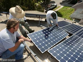 Solar electric panels likes these on a California building could soon come to schools across the country.