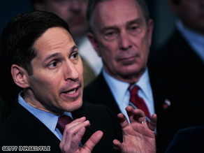 New York Health Commissioner Thomas Frieden, left, with Mayor Michael Bloomberg, discusses swine flu last month.