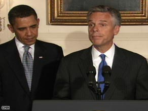 President Obama announces Saturday his pick for U.S. envoy to China, Jon Huntsman, who talks to reporters.