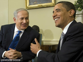 Israeli Prime Minister Benjamin Netanyahu and President Obama visit at the White House on Monday.