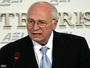 Former Vice President Dick Cheney defends Bush administration policies during a speech Thursday.
