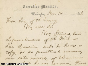"Larry Cutler donated the ""lost"" letter from President Lincoln to the National Archives."