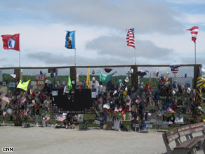 A temporary memorial has been set up to honor the victims of the United Airlines Flight 93 crash.