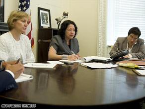 Judge Sonia Sotomayor, center, meets with staffers from the White House Counsel's Office on Monday.