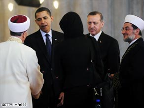 President Obama and Turkish Prime Minister Recep Tayyip Erdogan visit an Istanbul mosque in April.