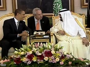President Obama meets with Saudi King Abdullah on Wednesday in Riyadh, Saudi Arabia.