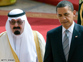 President Obama and Saudi King Abdullah bin Abdul Aziz al-Saud walk together in Riyadh, Saudi Arabia, on Wednesday.