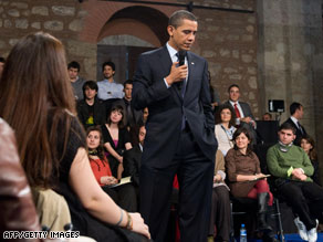 President Obama listens at a town hall-style meeting in Istanbul, Turkey, in April.