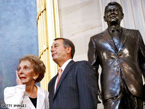 Nancy Reagan, with House Minority Leader John Boehner, wipes away tears at Wednesday's event.