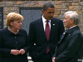 President Obama visits Buchenwald with Chancellor Angela Merkel, left, and survivor and activist Elie Wiesel.