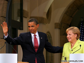 "President Obama says he and German Chancellor Angela Merkel agreed to ""redouble"" efforts for Mideast peace."