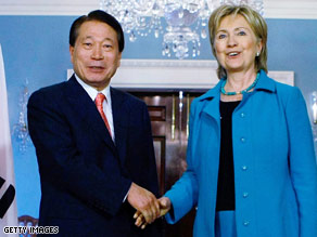 Hillary Clinton meets with South Korean Foreign Minister Yu Myung-hwan on Friday to discuss North Korea.