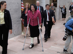 Judge Sonia Sotomayor makes her way around Capitol Hill on Monday on crutches after breaking her ankle.