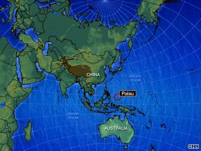 The map shows the Pacific island nation of Palau in relation to China. Palau has also agreed to take some Uighurs.