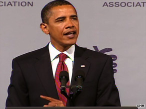 Obama makes a case for universal health care to the AMA.