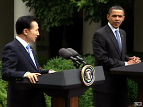South Korean President Lee Myung-bak and President Obama met Tuesday at the White House.