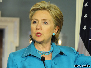 Secretary of State Hillary Clinton makes remarks at the State Department on Wednesday.