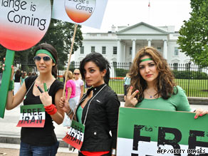 Iranian women demonstrate Saturday in front of the White House.