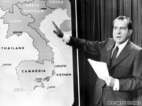 President Nixon announces the U.S. incursion into Cambodia during the Vietnam War in April 1970.