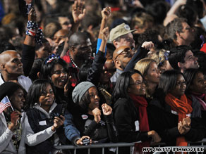 Obama's crowd in Chicago on Election Night, when fewer blacks thought race relations were a serious problem.