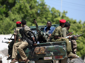 Somali government soldiers, who are fighting Islamic militants, patrol Mogadishu.