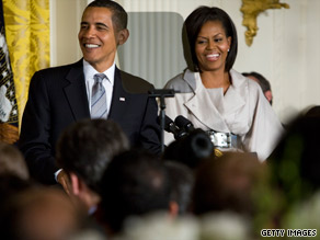 President Obama and first lady Michelle Obama entertain Monday in the White House&#039;s East Room.