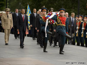 Obama arrived in Moscow Monday.