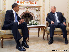 Obama and Russian President Dmitry Medvedev pose for a picture in Moscow on Monday.